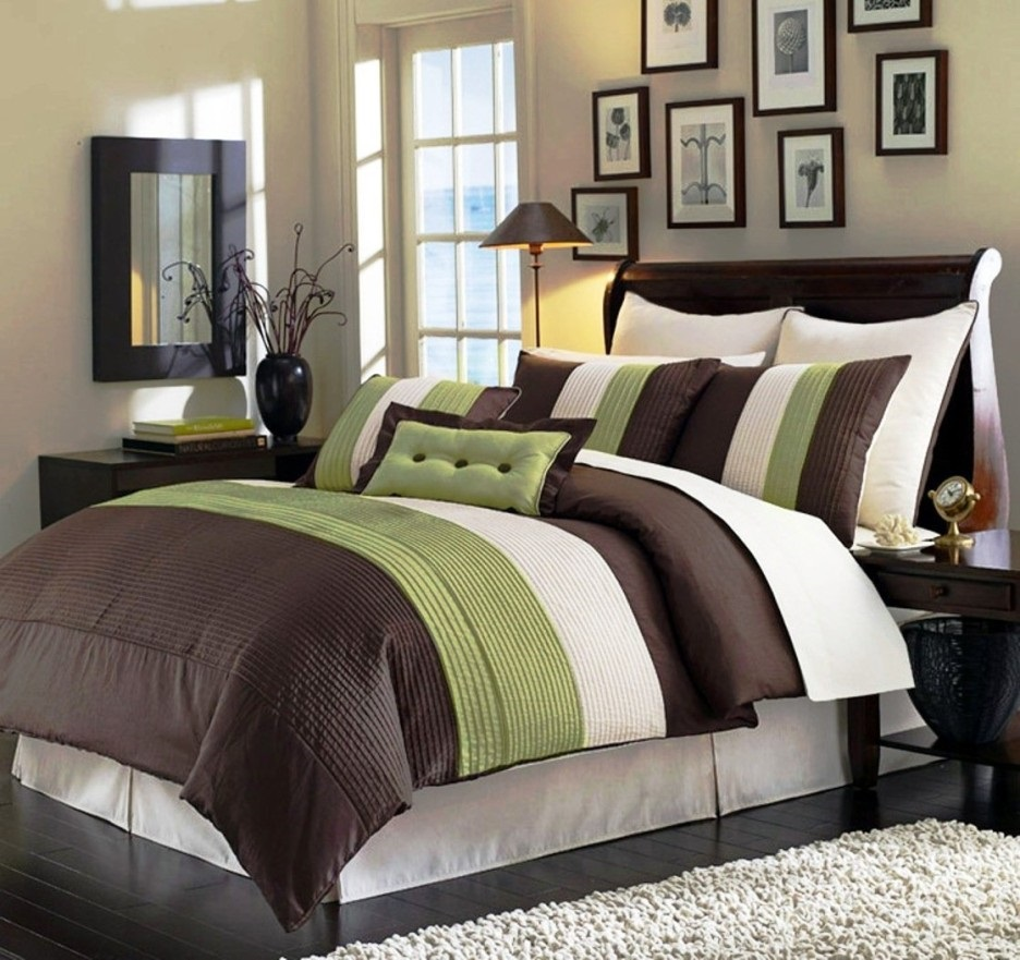 Set de edredones camas muebles para rec mara almohadas y edredones k y accesorios de Brown and green master bedroom ideas
